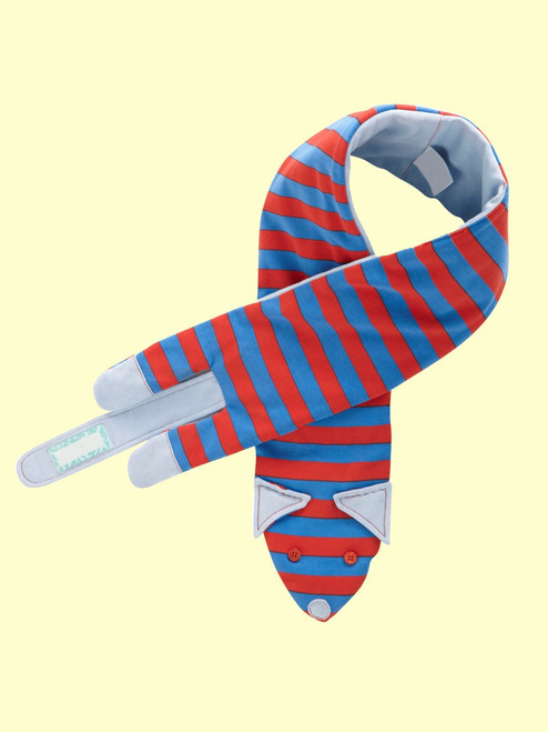 Palace Blue Stripe Sausage Dog Scarf- Organic Cotton