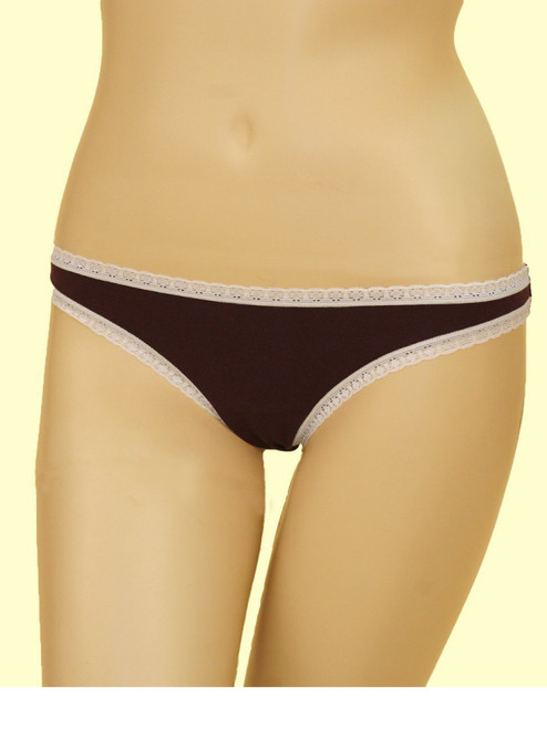 Thong with Lace Trim - Organic Cotton