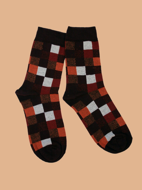 Women's Portland Plaid Crew Sock - Organic Cotton