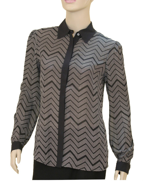 Dress Shirt with Contrast Collar and Cuffs -100% Silk Georgette