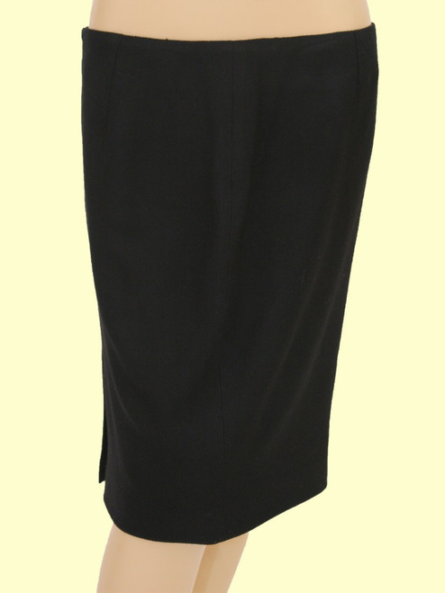 Pencil Skirt with Back Slit - Handwoven Wool