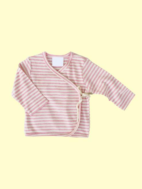 Organic Cotton Striped Pink Baby Kimono