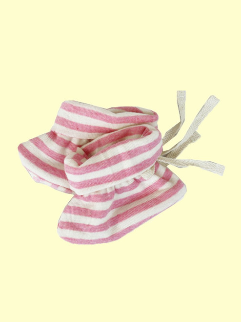 Organic Cotton Striped Pink Baby Booties