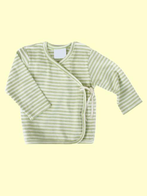 Organic Cotton Striped Sage Baby Kimono