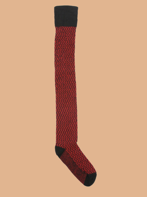 Diddley Red - Paired Thigh High Socks - Recycled Fibers