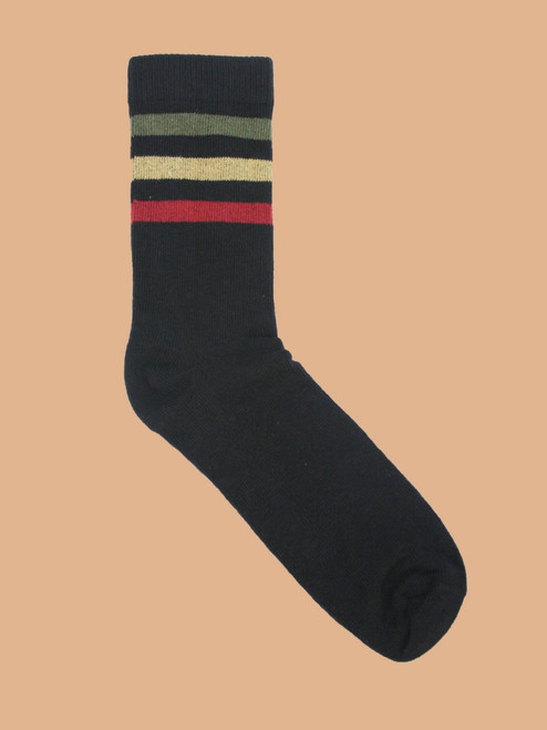 Go Team Rasta Black - Paired Crew Socks - Recycled Fibers