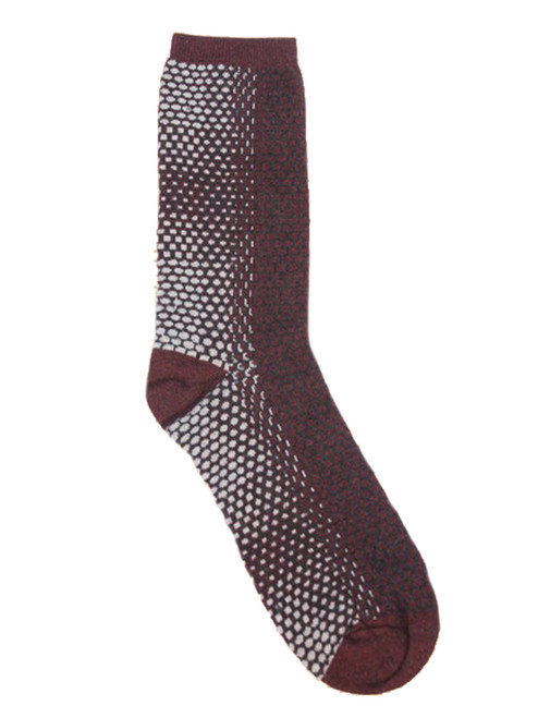 Honeycomb Merlot - Paired Crew Socks - Recycled Fibers