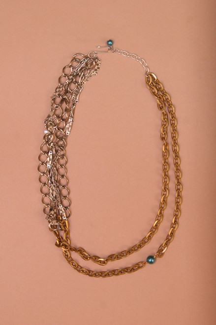 Linked Multi Chain with Blue Bead Necklace -Vintage Recycled Metal