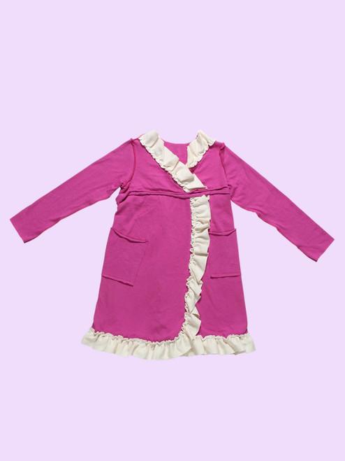 Faux Wrap Ruffle Dress - Organic Cotton Jersey