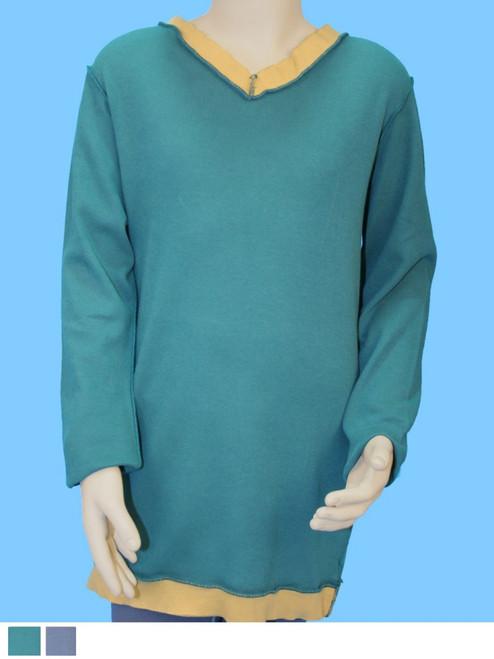 Organic Cotton V-Neck T-Shirt with Raw Ribbing Trim