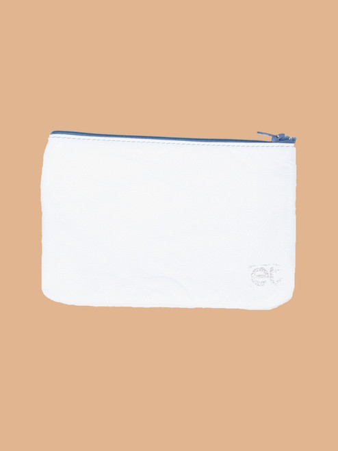 White/White & Silver Change Purse - Recycled Leather