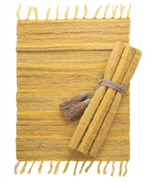 Citrus Stripe Vetiver Placemat . Set of 6 - Fair Trade