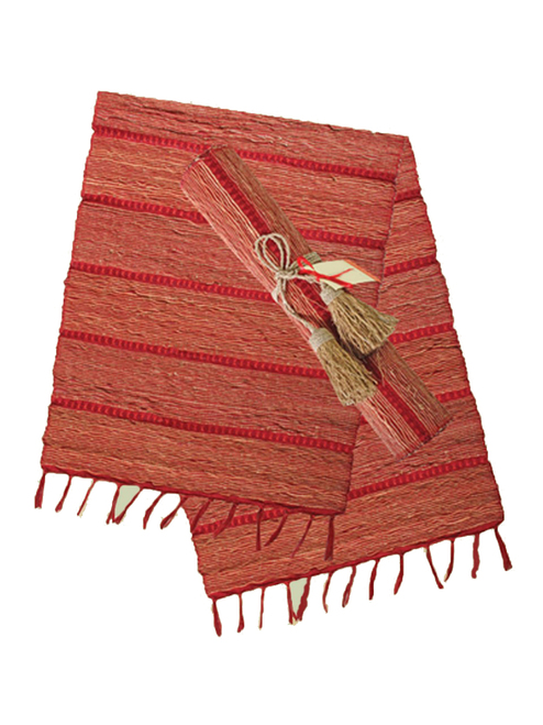 Persimmon Stripe Vetiver Table Runner - Fair Trade