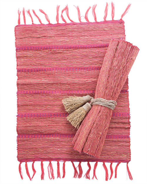 Persimmon Stripe Vetiver Placemat . Set of 6 - Fair Trade
