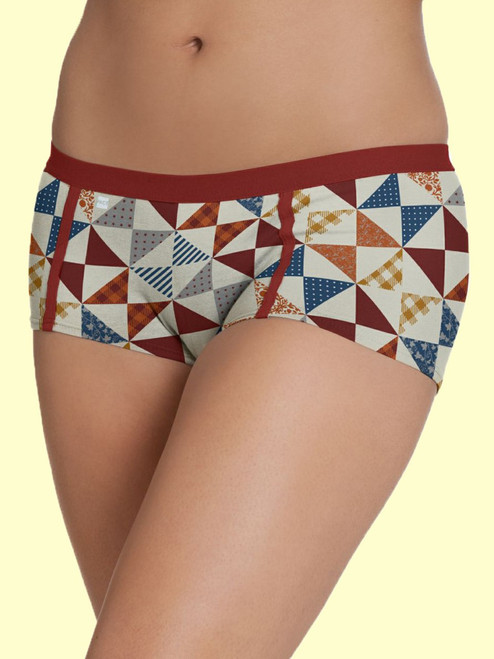 Women Boy Shorts Quilt Print- Organic Cotton