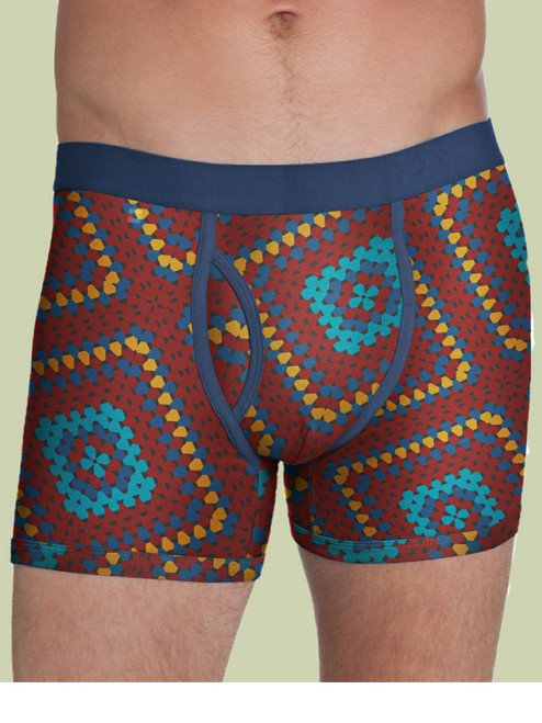 Men's Boxer Brief Crochet Blanket Print - Organic Cotton