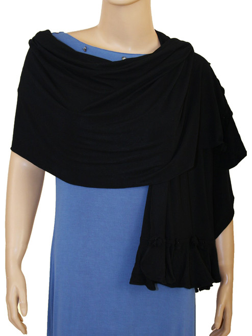 Small Flower Black Shawl - Bamboo Rayon