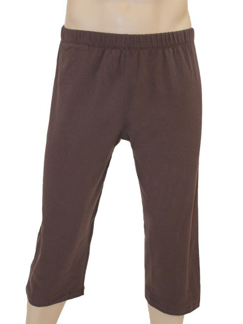 Men's Mana Crop Yoga & Fitness Pants Brown - Organic Cotton