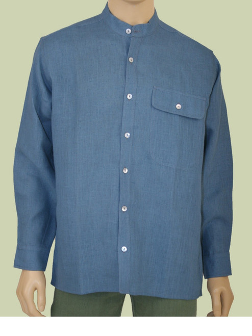 Men's Banded Collar Shirt - Hemp
