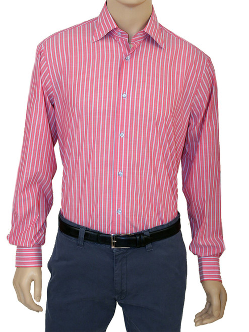 Chambray Stripe Long Sleeve Sustainable Colton Shirt