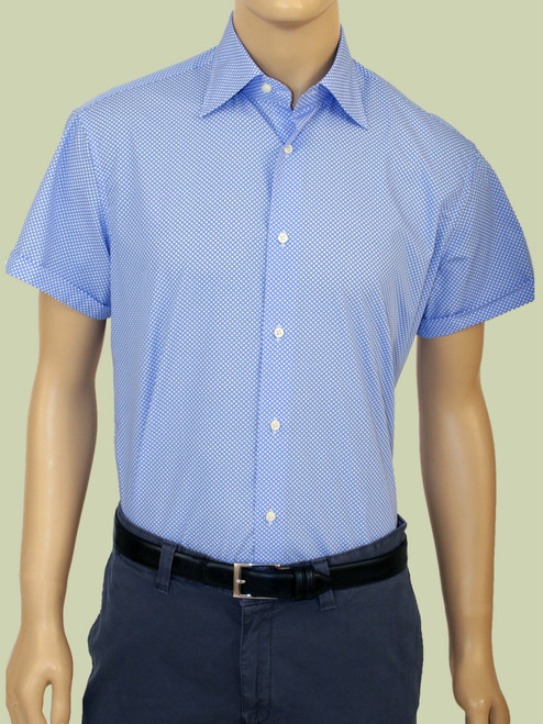 1973 Polka Dot Print Short Sleeve  Russel Shirt