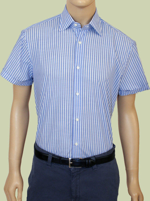 Washed Vintage Cabana Stripe Chambray Short Sleeve Shirt