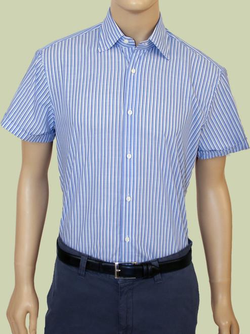 Washed Vintage Cabana Stripe Chambray Short Sleeve Shirt