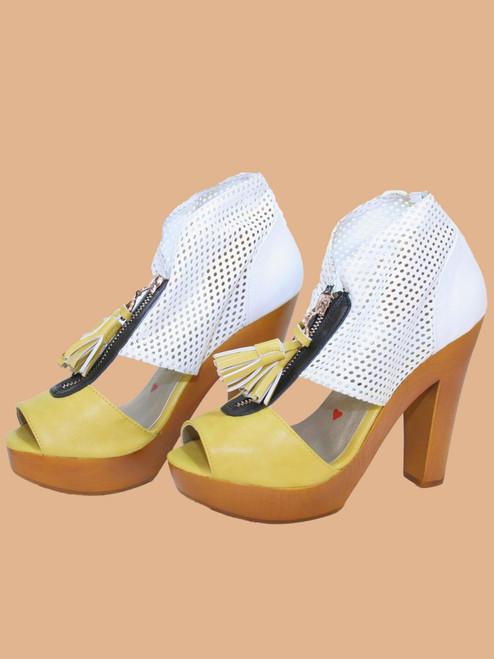 Summer Perforated Zip Platform Sandals - Vegan Leather