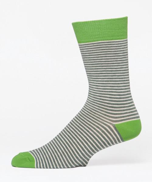 Kale Railroad Stripe Men's Crew Socks
