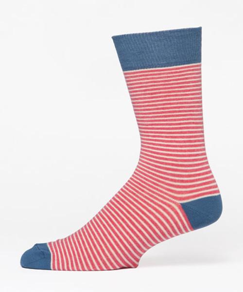 Barn Red Railroad Stripe Men's Crew Socks