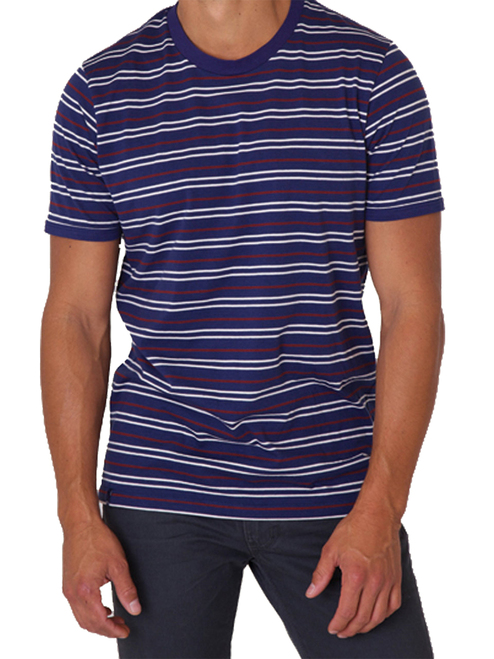 Men's Americana Stripe Crew Neck Tee - 60% organic cotton/40% modal