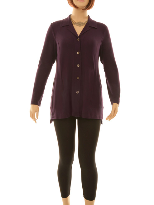 Essential Shacket in Raisin - Bamboo jersey knit blended