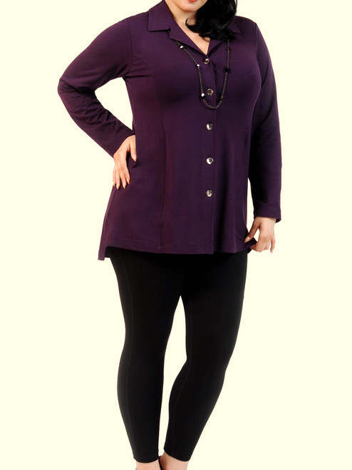 Women's Plus Size Essential Shacket in Raisin - Bamboo jersey knit blended