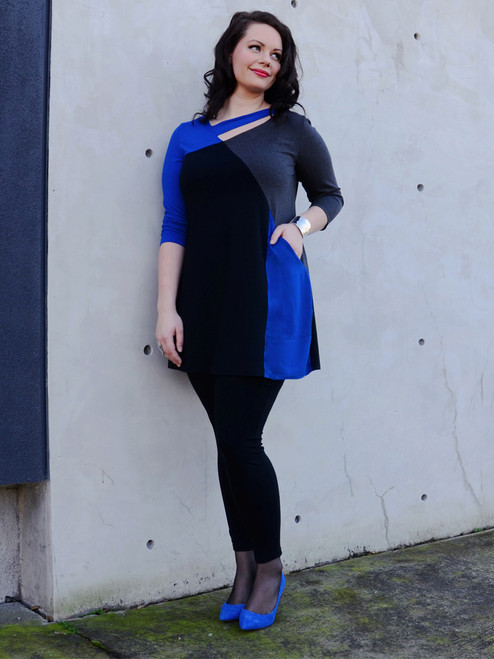 Women's Plus Size Ellipse Tunic in Royal - Certified Organic Bamboo jersey knit blended