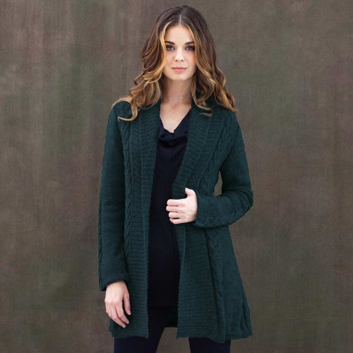 Long Shawl Cardigan . Free Range Alpaca - Fair Trade
