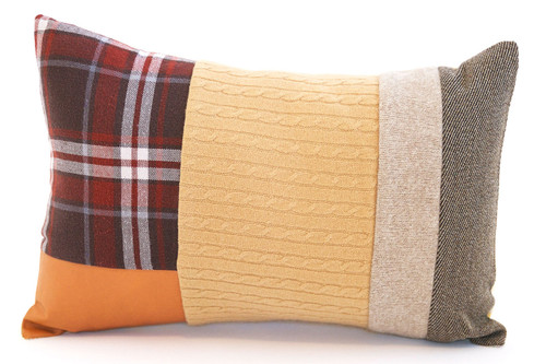 Caramel Cable Pillow - Recycled Vintage Fabrics