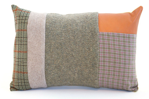 He Loves Me Knit Pillow - Recycled Vintage Fabrics