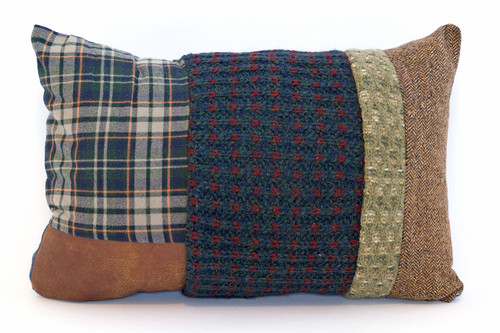Winter Cabin Pillow - Recycled Vintage Fabrics
