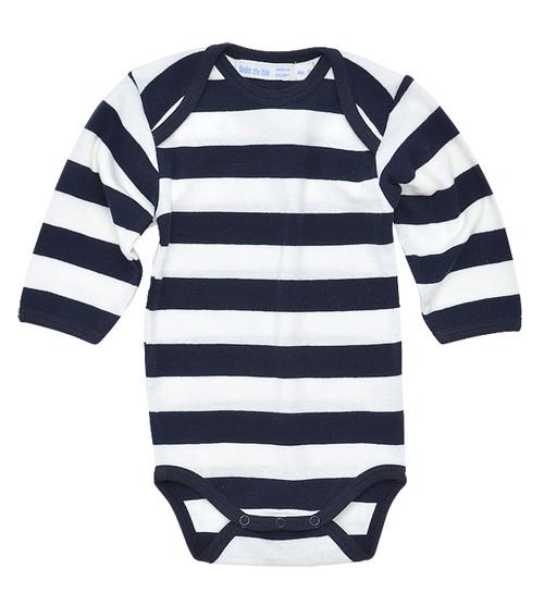 Rugby Stripe Long Sleeve Onesie. Organic Cotton - Fair Tade