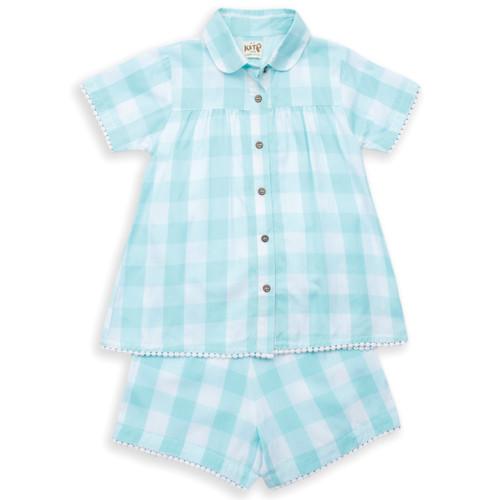 Organic Cotton Girl's Pretty Check Shortie Pajamas - Fair Trade