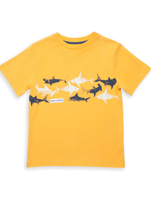 Organic Cotton Boys Sharks Crossing T-Shirt - Fair Trade