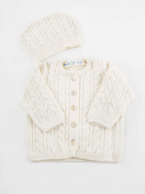 Organic Cotton Baby Cable Knit Cardigan & Hat Set