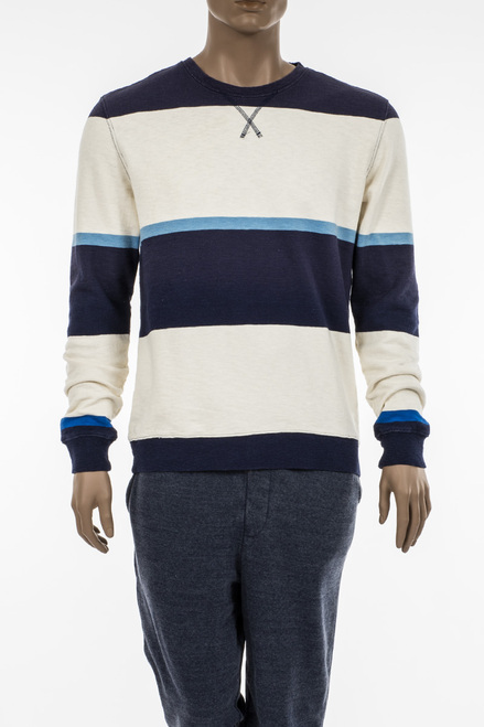 Men's Wide Stripe Terry Crew Sweatshirt - 100% Organic Cotton Terry