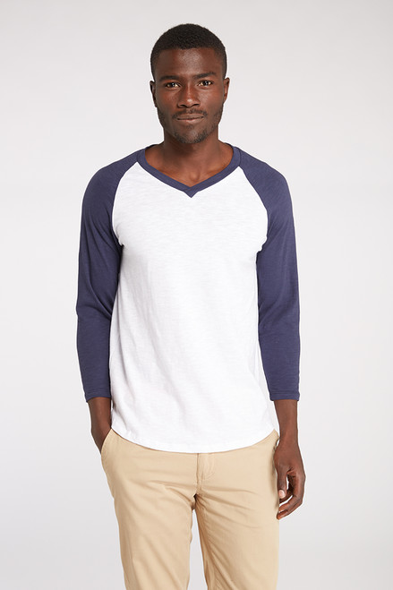 Men's V- Neck 3/4 Sleeve Raglan Tee - Organic Cotton