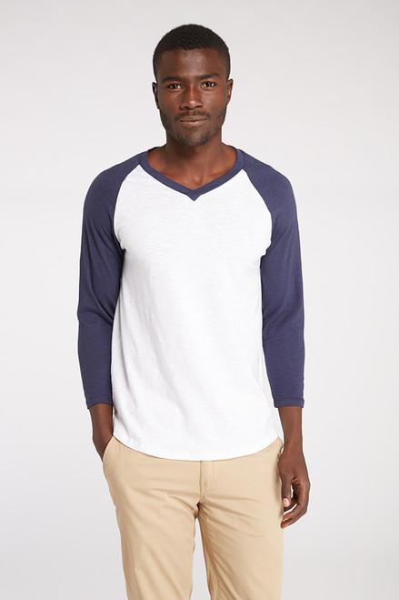 Men's V- Neck 3/4 Sleeve Raglan Tee - Organic Cotton