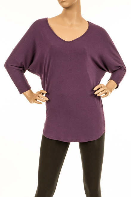 3/4 Dolman Sleeve V-Neck Top - Organic Cotton/Modal