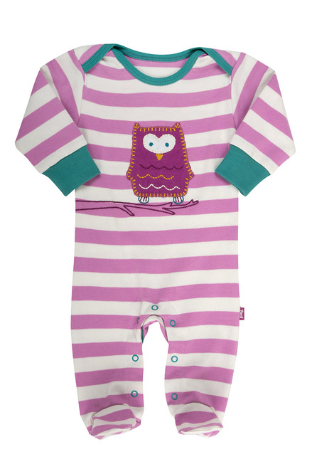 Baby Girl's Organic Cotton Stripy Owl Sleepsuit