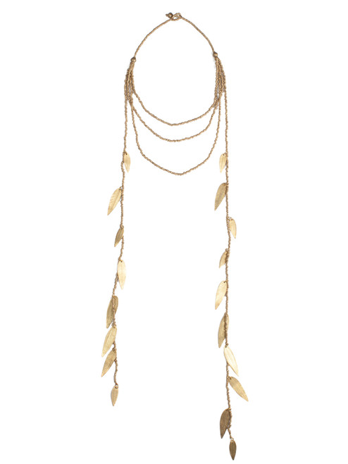 Almaz Cascade Leaf Necklace - Recycled Materials