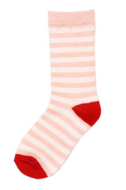 Pink Stripe Merino Wool Child Socks