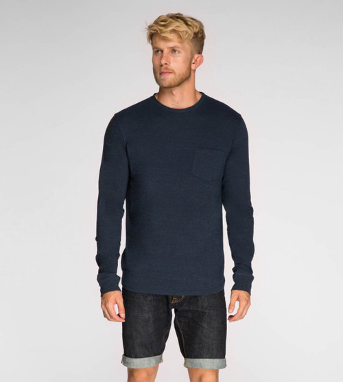 Men's Basic L/ S Crew Neck Pocket Tee - Organic Cotton Blend